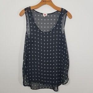 One Clothing medium sheer black sleeveless top